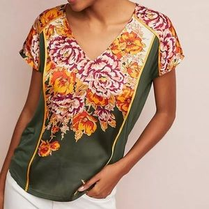 Tiny Anthropologie Evesham Floral Green Top Small